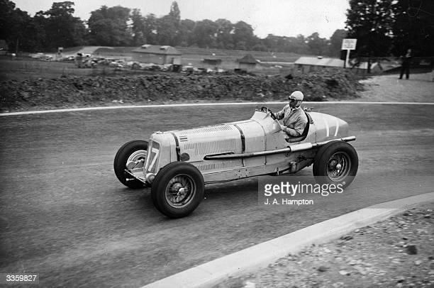 B Bira at speed in his ERA during a practice at Crystal Palace for the London Grand Prix