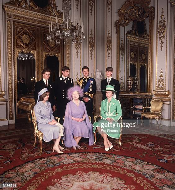 Members of the royal family at Buckingham Palace Viscount Lindley Prince Andrew Prince Charles Prince Edward Lady Sarah Armstrong Jones Queen...