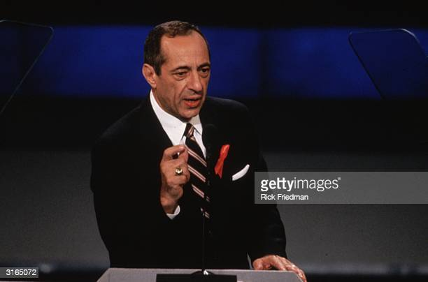 Democratic politician and Governor of the state of New York Mario Cuomo addressing the Democratic convention and nominating Bill Clinton for the...