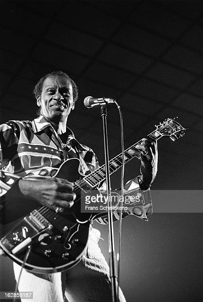 15th JULY: American singer and guitarist Chuck Berry performs at the Jaap Eden Hal in Amsterdam, Netherlands on 15th July 1988.