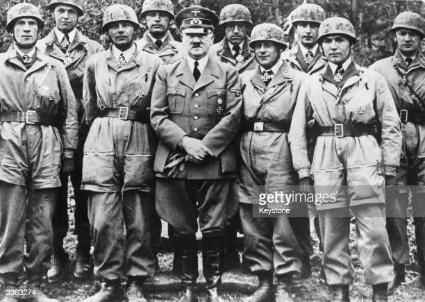 Adolf Hitler after awarding Iron Crosses to a group of German parachutists
