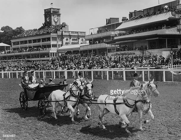 King George VI and Queen Elizabeth in the open state landau drawn by a team of Windsor Greys drive up Ascot race course on Gold Cup day