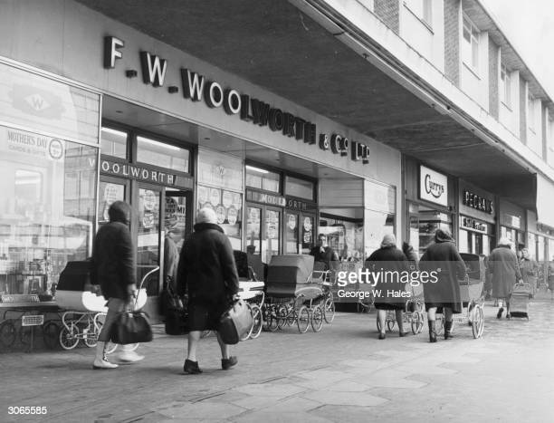 Wellknown chainstores such as Woolworth's and Curry's abound in the shopping precinct of Kirkby New Town Lancashire
