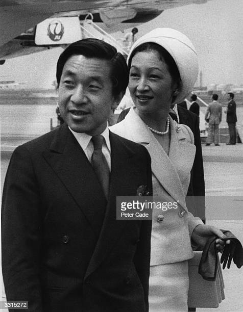 Crown Prince Akihito and Princess Michiko of Japan at Heathrow Airport on an official visit to Britain