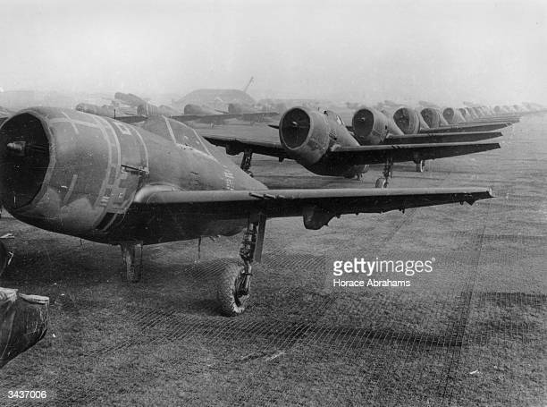 US Thunderbolts lined up for testing after their arrival in Britain prior to the D Day invasions