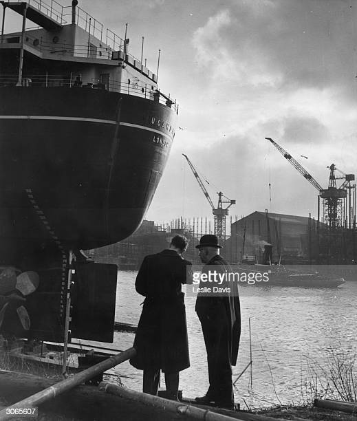 The new British India Company vessel Uganda awaits her launch from the Barclay Curle Co shipyard on the River Clyde Glasgow Original Publication...