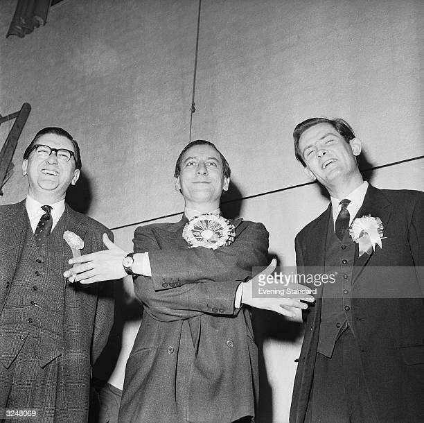 Eric Lubbock with Peter Goldman and Mr Jinkinson after Lubbock was elected MP for Orpington in Kent, winning the seat for the Liberal Party.