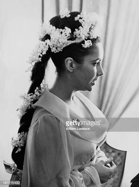 British film star Elizabeth Taylor at her first wedding to actor Richard Burton in Montreal Canada They married twice but both marriages ended in...