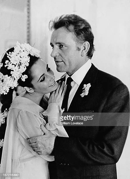 British film stars Elizabeth Taylor and Richard Burton at their first wedding in Montreal, Canada. They married twice, but both marriages ended in...