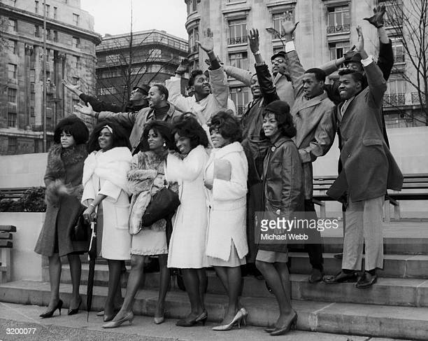 American pop groups The Supremes Martha and the Vandellas Smokey Robinson and the Miracles and the Earl Van Dyke Sextet visiting London