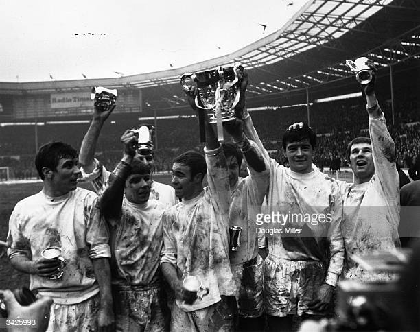 Members of the Swindon Town team celebrating after beating Arsenal 31 in the League Cup final at Wembley Stadium London