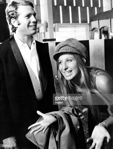 Barbra Streisand the American singer and actress with American actor Ryan O'Neal are starring in the new comedy film 'What's Up Doc' in which he...