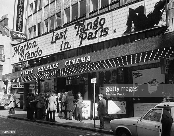 People queuing to see the premiere of the controversial film 'Last Tango In Paris' at the Prince Charles Theatre in London