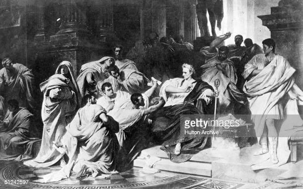 15th March 44 BC The murder of Julius Caesar in the senate of Rome Original Artwork A painting by Carl Piloty