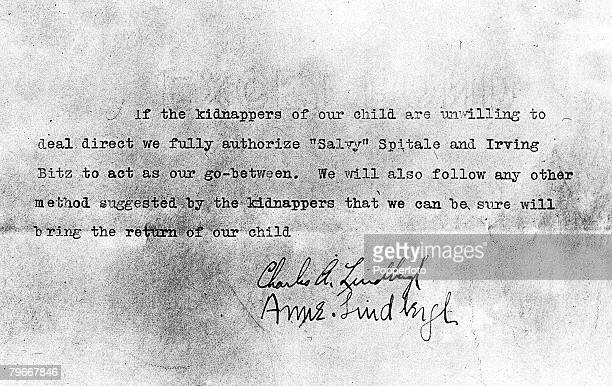 USA 15th March The document signed by famous American aviator Charles Lindbergh and his wife authorising gangsters Irving Bitz and Salvy Spitale to...