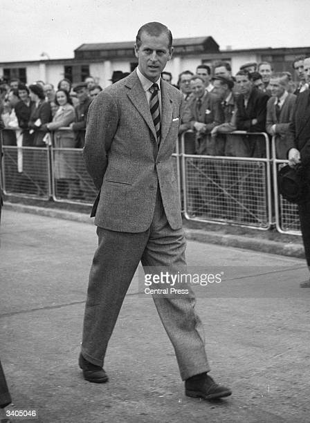Prince Philip the Duke of Edinburgh at London Airport before leaving for Malta