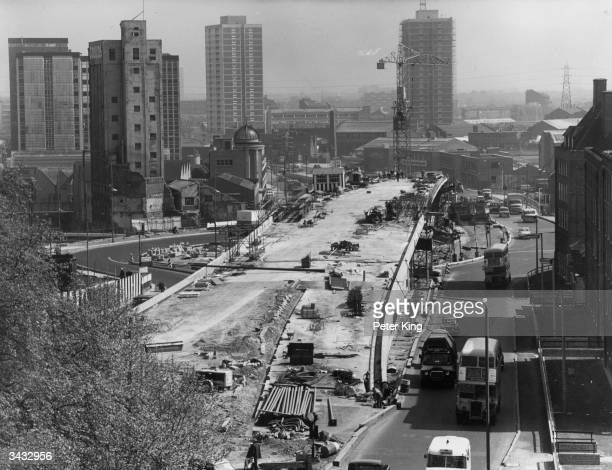 A section of the Greater London Flyover and roundabout scheme being built at Stratford in East London