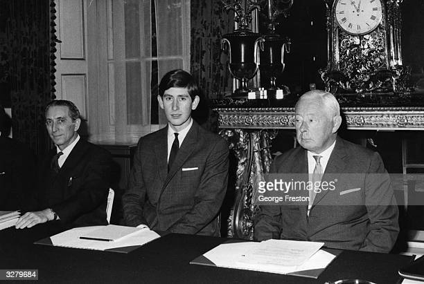 Charles Prince of Wales attending a meeting at St James' Palace with Mr George Thomas and the Duke Of Norfolk