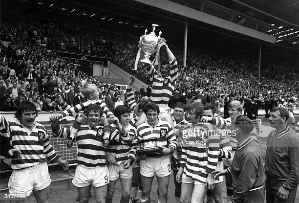 Leigh win the Rugby League Challenge Cup after beating Leeds in the final at Wembley, London.