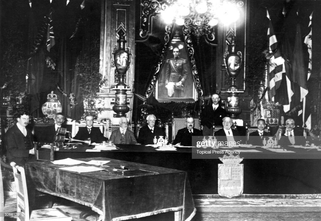The first session of the Council of the League of Nations with their coat-of-arms.