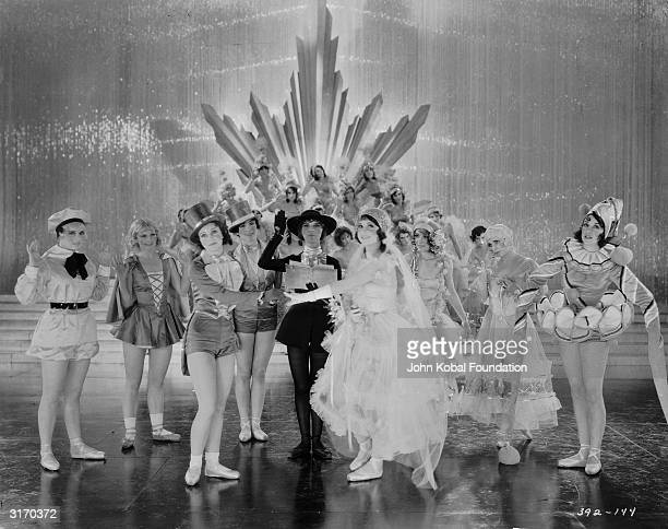 Chorus girls wearing a variety of different costumes in a scene from the original 'The Broadway Melody' musical directed by Harry Beaumont The film...
