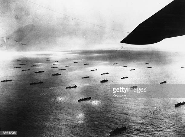 Large convoy of ships seen from a US Navy flying boat patrolling the North Atlantic.