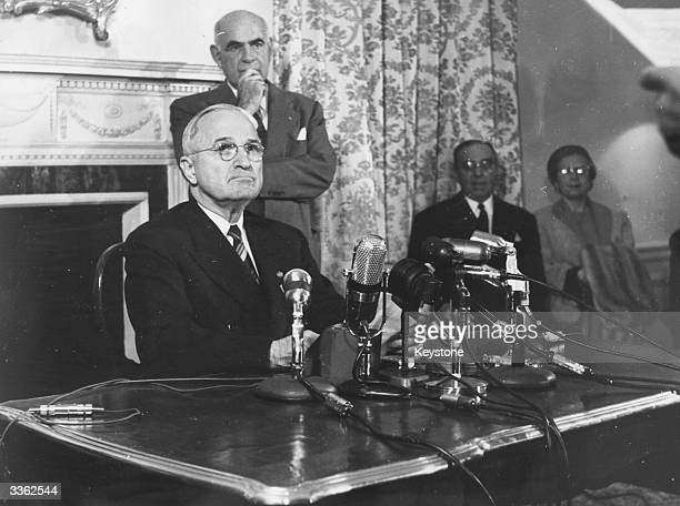Former American President Harry S Truman at a press conference after refusing to appear before the UnAmerican Activities Committee to answer...