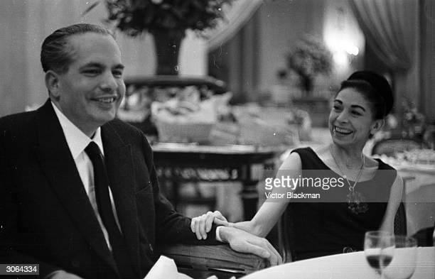 Panamanian diplomat Dr Roberto Arias and his wife ballerina Dame Margot Fonteyn enjoying a meal in a Paris restaurant