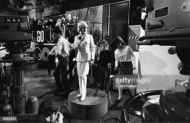 Ready to sing, Sylvie Vartan on television programme, Ready Steady Go, made for ITV by Associated Rediffusion.