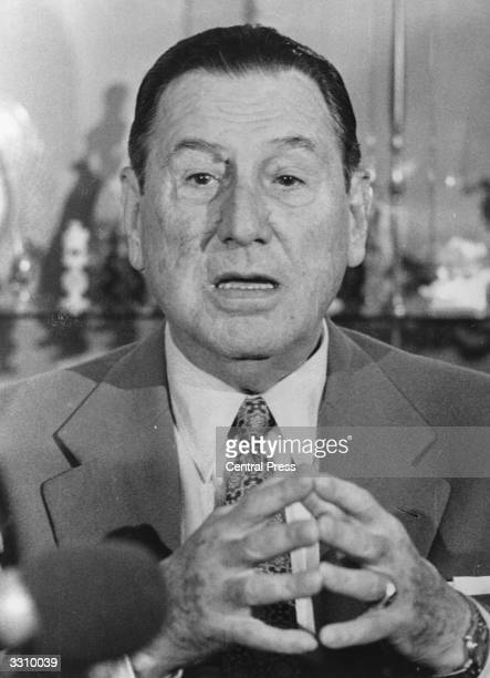 Ex President of Argentina Juan Domingo Peron at his residence in Spain where he lived in exile for 13 years before returning to Argentina in November...