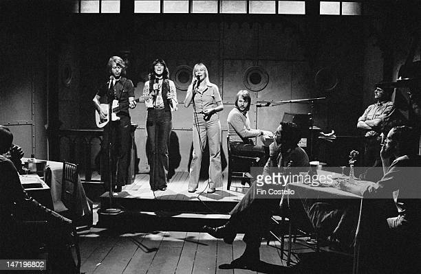 Swedish group Abba perform live on Saturday Night Live TV show in New York on 15th November 1975 Left to right Bjorn Ulvaeus AnniFrid Lyngstad...