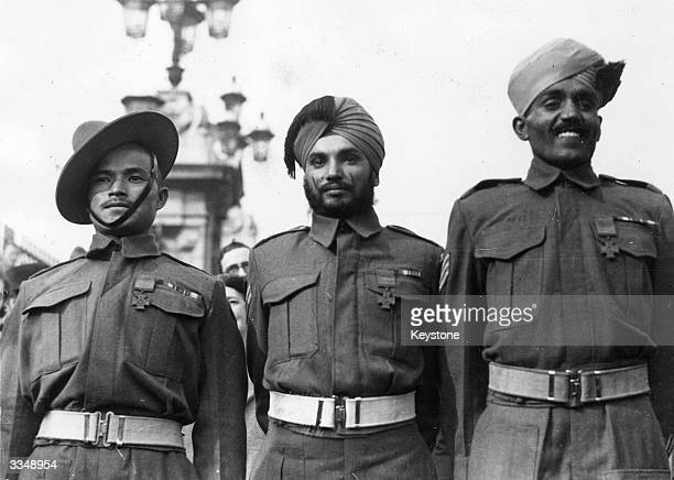Three Indian soldiers after receiving their VC medals for their bravery during the Second World war at Buckingham Palace London