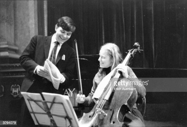 English cellist Jacqueline Du Pre in rehearsal with Stephen Bishop Kovacevich at Goldsmith's Hall, London.