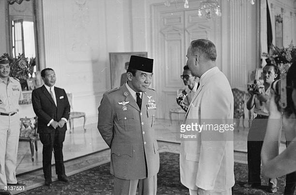 Indonesian president Achmed Sukarno or Soekarno attending a function in Indonesia