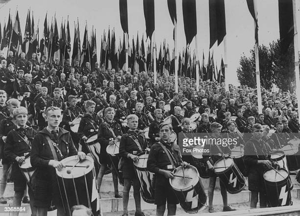 Drummers in the German Nazi youth organisation, the HitlerYouth, at a rally at Nuremberg.