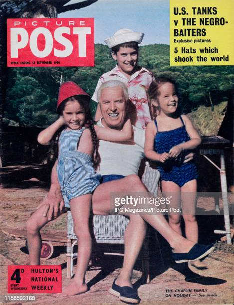 English comic actor filmmaker and composer Charlie Chaplin on holiday with his children Michael Josephine and Victoria Original Publication Picture...