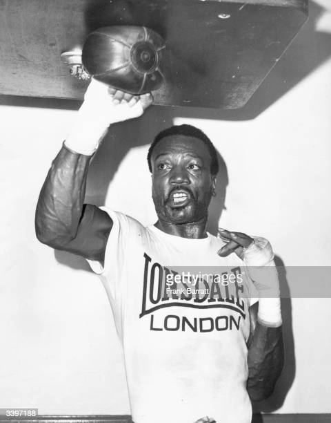 American boxer Bob Foster in training for the defence of his world light-heavyweight title against Britain's Chris Finnegan at Wembley, London.