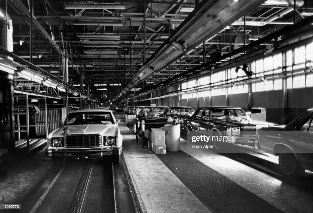 Unfinished cars on the Ford assembly line in Mahwah, New Jersey, USA during a strike.