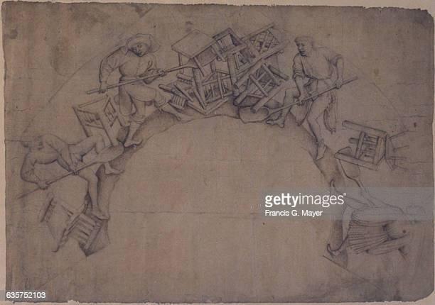15thCentury Flemish Drawing of Men Shoveling Furniture