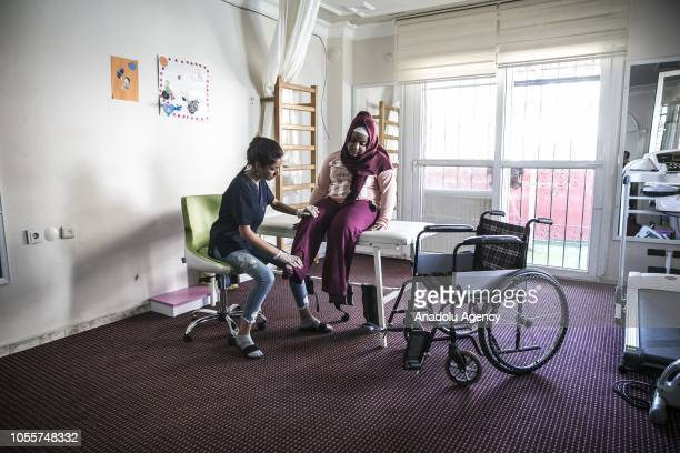 15yearold Ebru Kozanoglu who suffer from spina bifida receives physiotherapy and starts to walk after receiving physiotherapy at a rehabilitation...