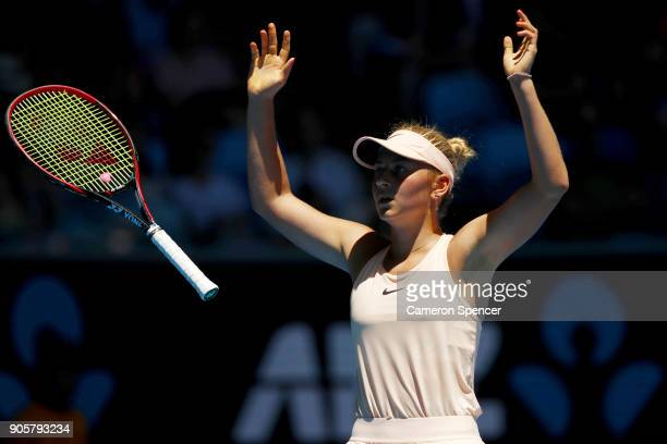 15yearold Marta Kostyuk of Ukraine celebrates winning match point in her second round match against Olivia Rogowska of Australia on day three of the...