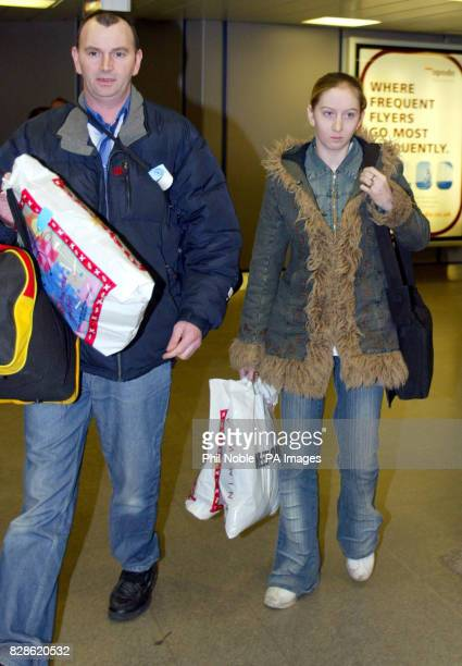 15yearold Rachel Lloyd with her father Bob arriving back at Manchester Airport from Istanbul Turkey after seeing her Turkish lover jailed for five...