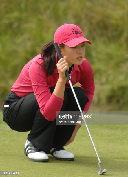 15yearold US player Michelle Wie vies on the 6th hole on the fourth day of the Women's British Open Golf at Royal Birkdale Golf Club Southport...