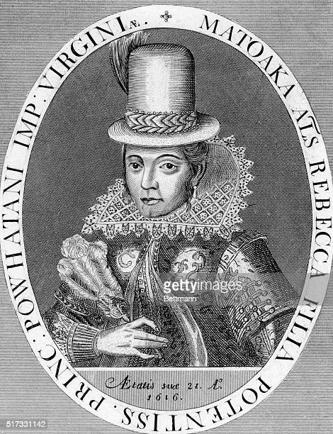 Pocahantas Matoaka American Indian princessborn near Jamestown VA daughter of Powhatan Etching 1616