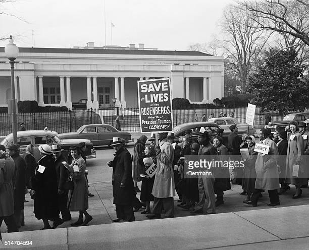 1/6/1953Washington DC Hundreds of demonstrators march before the White House asking clemency from President Truman for the convicted wartime Aspies...