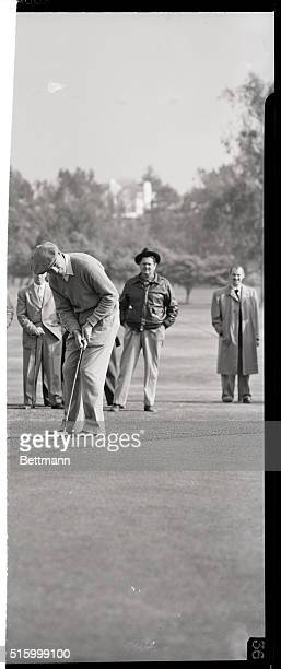 Santa Monica, California: Golfer Ben Hogan practices at the Rivera Club here, Jan. 5, for his first tournament since a highway accident a year ago....