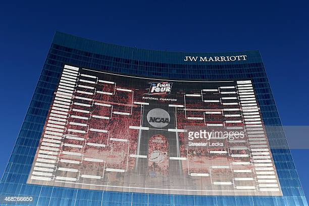 Foot tall NCAA Men's Basketball Tournament bracket is seen on the JW Marriott Indianapolis leading up to the 2015 Final Four at Lucas Oil Stadium on...