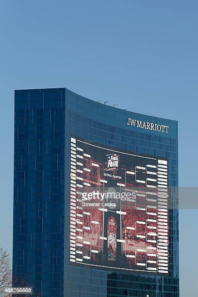 A 165foot tall NCAA Men's Basketball Tournament bracket is seen on the JW Marriott Indianapolis leading up to the 2015 Final Four at Lucas Oil...