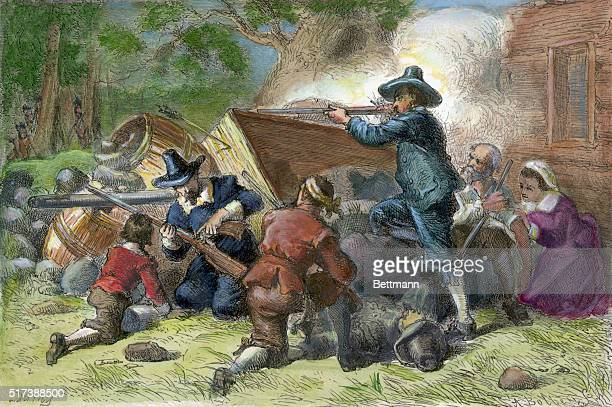 1676Virginian settlers defending their property against Indians during Bacon's Rebellion 1676 Engraving after Darley