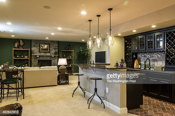 Bar and Living Area in the Basement of the Oakton Model Home at Harmony Vista on July 16 2014 in Hamilton Virginia